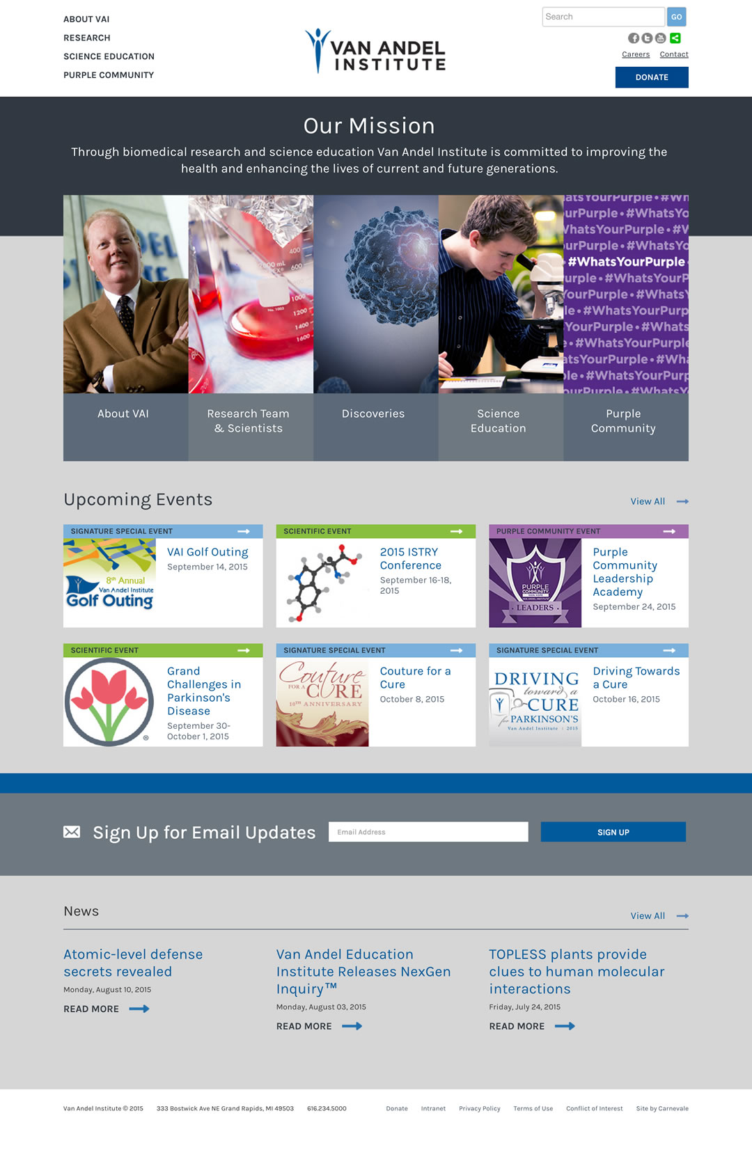 Van Andel Institute Website by Matt Hirsch